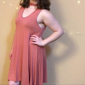 Rose pink choker dress